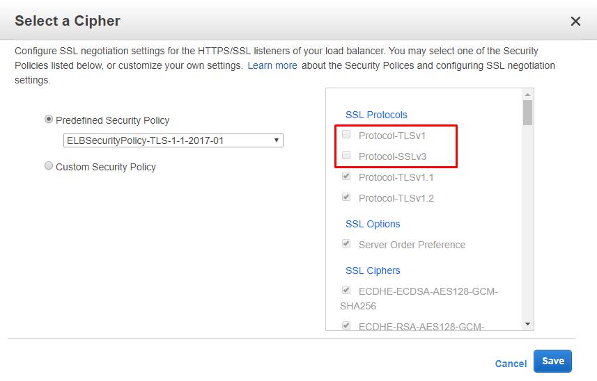 AWS TLS Select Cipher