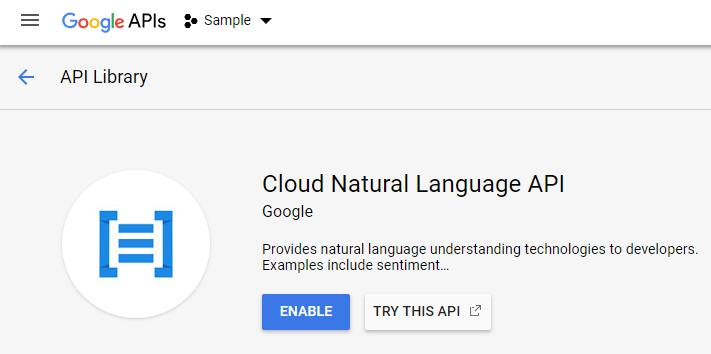 Enable the Cloud Natural Language API