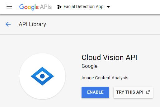 ENable facial detection Cloud Vision API